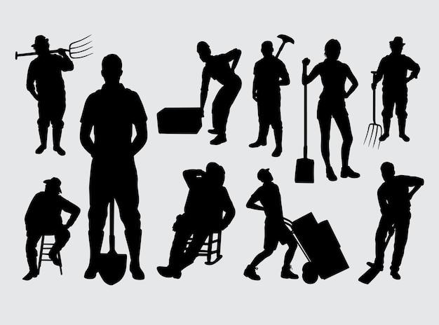 Le persone lavorano silhouette maschili e femminili
