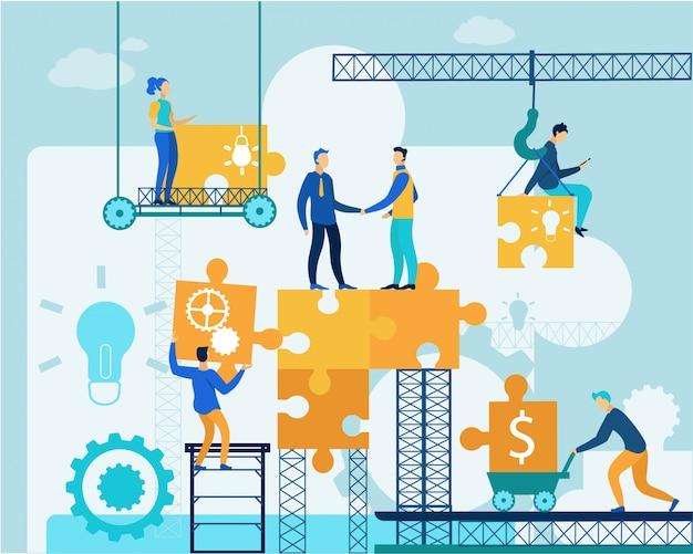 Le persone lavorano sul business puzzle