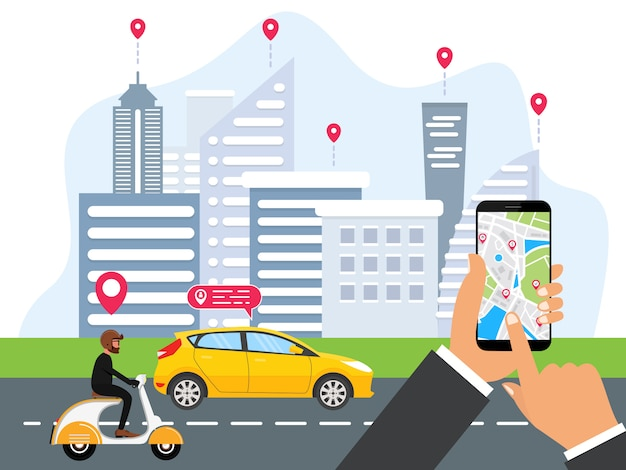 Le persone ordinano il trasporto online
