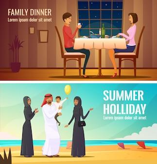 Le persone orientali progettano composizioni con la famiglia araba