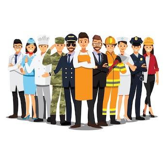 Le persone raggruppano diversi lavori