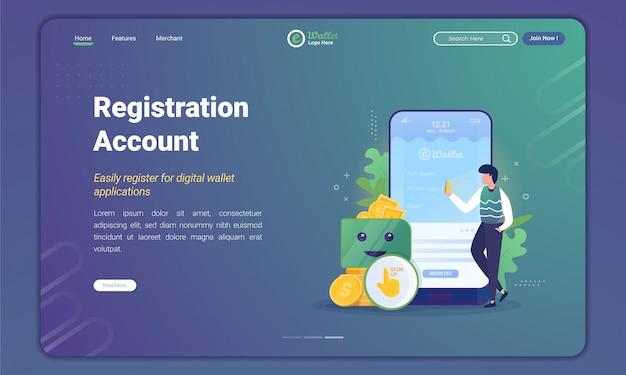 Le persone registrano o creano un account per l'applicazione e-wallet sul modello della pagina di destinazione