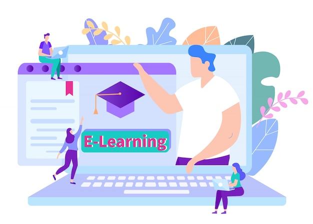 Le persone ricevono l'istruzione online. insegnante sul monitor. insegnamento a distanza. lezione online e-learning