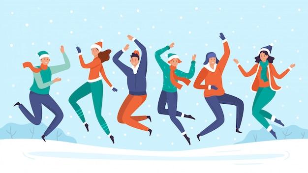 Le persone saltano nella neve. il gruppo di amici gode delle precipitazioni nevose, delle vacanze invernali felici e dell'illustrazione di vacanza della neve