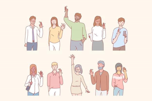 Le persone salutano o salutano con la mano