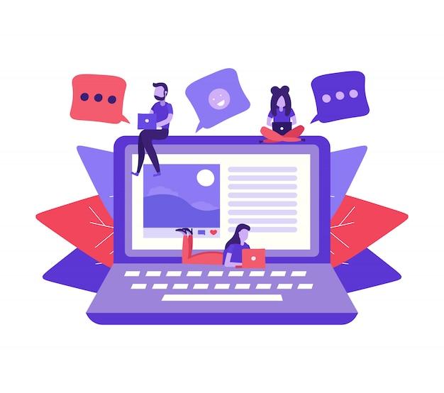 Le persone scrivono post e commenti sui social media
