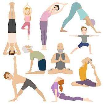 Le persone si allenano nel carattere vettoriale di lezioni di yoga fitness club.