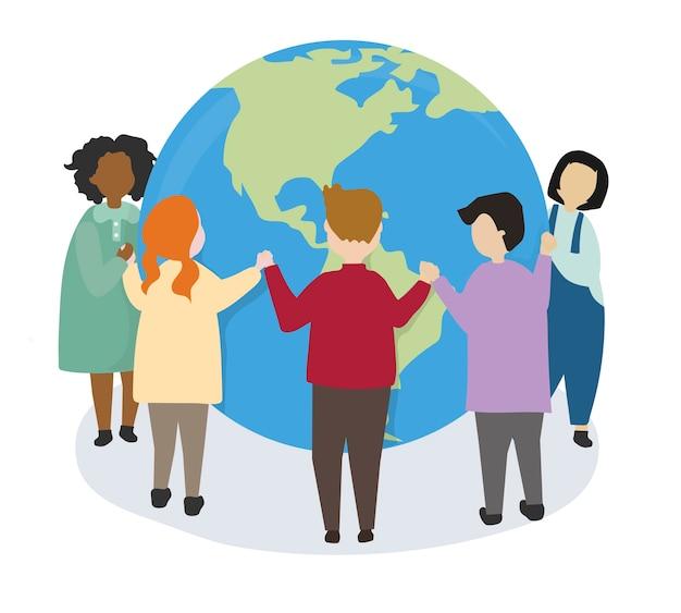 Le persone si prendono cura del mondo e dell'ambiente