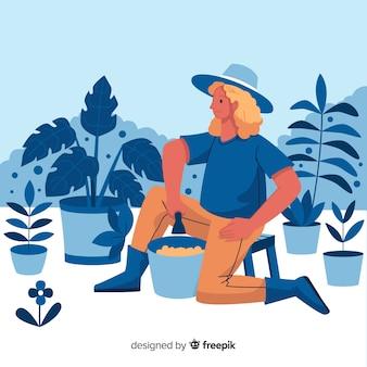 Le persone si prendono cura delle piante