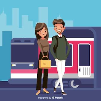 Le persone sullo sfondo della metropolitana
