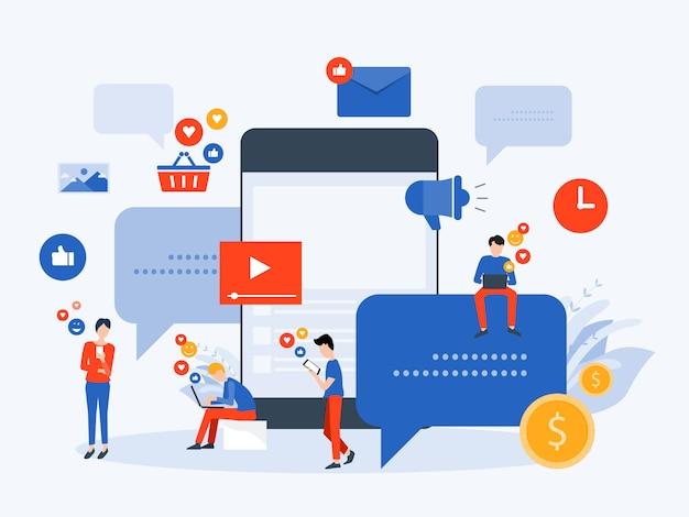 Le persone usano i social media per il concetto di business online
