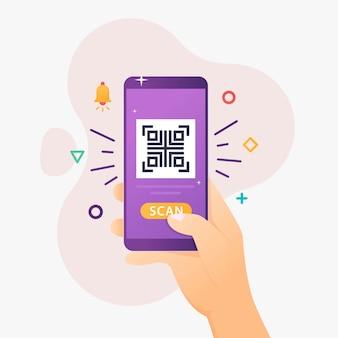 Le persone usano lo smartphone per scansionare il codice qr