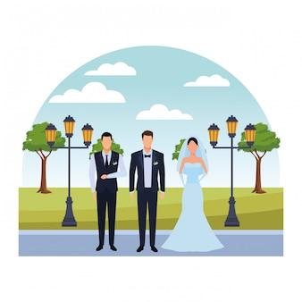 Le persone vestite per il matrimonio