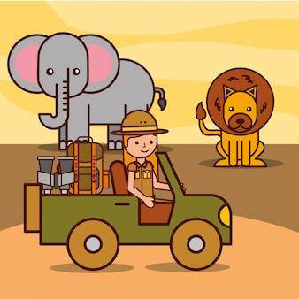 Le persone viaggiano in safari