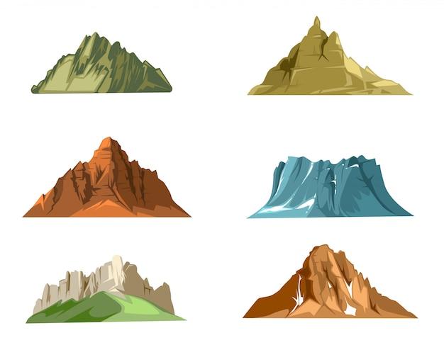 Le pietre e le rocce della natura hanno messo con erba verde del fumetto. vector le illustrazioni stabilite della roccia e della pietra isolate su fondo bianco