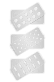 Le pillole mediche in pacchetto in bianco per il trattamento vector l'illustrazione
