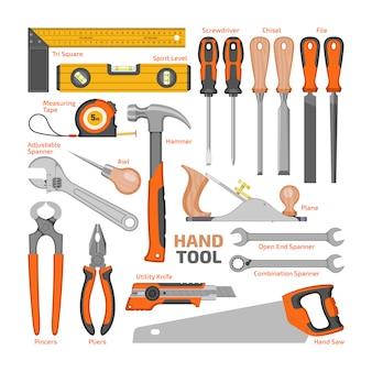 Le pinze ed il cacciavite del martello di utensili manuali della costruzione di vettore dello strumento per utensili dell'officina dell'illustrazione della cassetta portautensili hanno messo della chiave dei carpentieri e della sega a mano isolati.