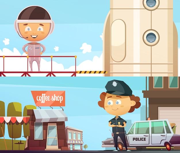 Le professioni della gente due bandiera orizzontale con i bambini svegli del fumetto in vestiti del poliziotto e dell'astronauta