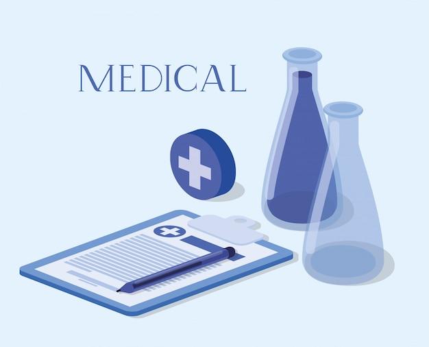 Le provette medicali analizzano i farmaci con ordine