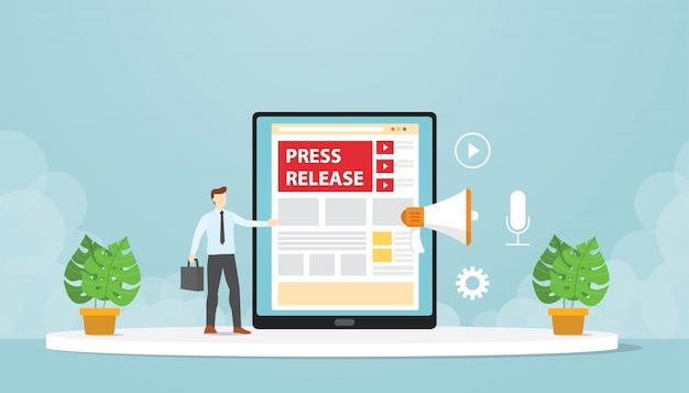 Le pubbliche relazioni rilasciano comunicati stampa attraverso i blog aziendali. design moderno piatto cartone animato.