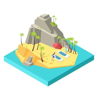 Le ragazze si rilassano e lavorano sulla spiaggia dell'isola - concetto isometrico in discesa e indipendente