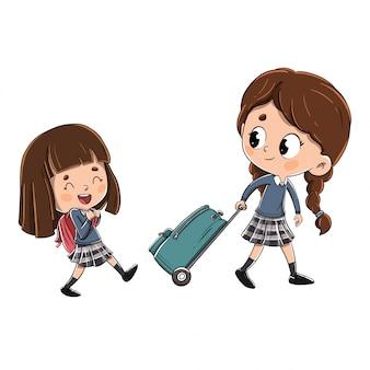 Le ragazze sulla strada per la scuola
