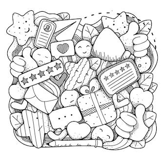 Le recensioni scarabocchiano l'illustrazione in bianco e nero della composizione
