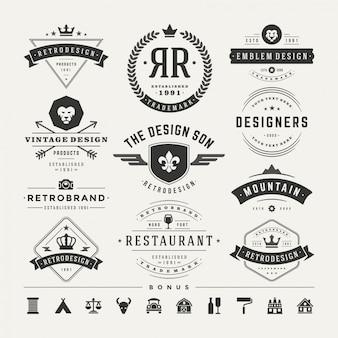 Le retro insegne o logotipi d'annata hanno fissato gli elementi di progettazione di vettore