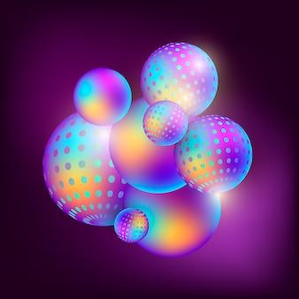 Le sfere multicolori scorrenti sottraggono la composizione in 3d su un fondo scuro.