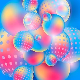 Le sfere multicolori scorrenti sottraggono la composizione in 3d su un fondo variopinto.