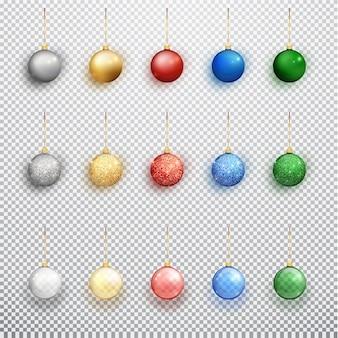 Le sfere variopinte di natale hanno impostato isolato su una priorità bassa trasparente. decorazioni natalizie.