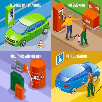 Le stazioni di servizio riempiono il concetto isometrico con composizioni di serbatoi e testo di immagini di automobili