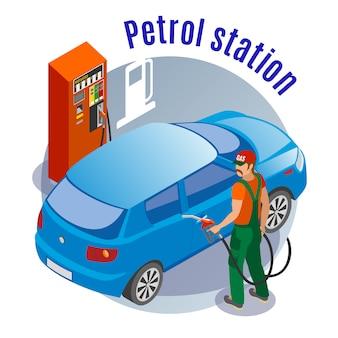 Le stazioni di servizio riempiono l'illustrazione isometrica con le immagini del carattere e del testo di fuelman dell'automobile della colonna di riempimento del combustibile