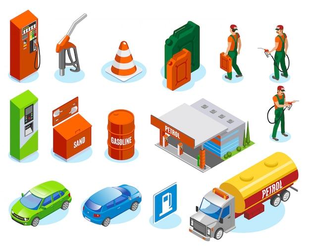 Le stazioni di servizio riempiono la collezione di icone isometriche con personaggi di fuelman e immagini isolate di automobili e unità di rifornimento