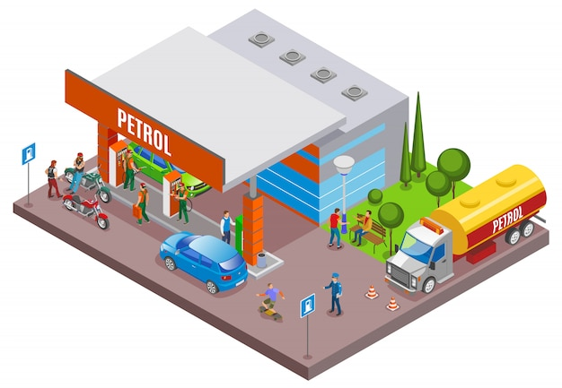 Le stazioni di servizio riempiono la composizione isometrica con scenari urbani e la stazione di rifornimento di benzina con persone e automobili