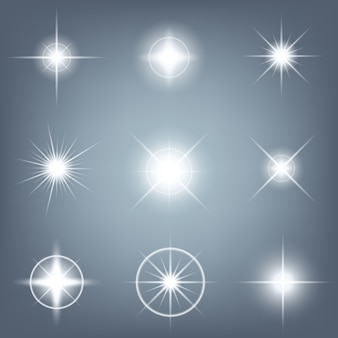 Le stelle a effetto bagliore brillano di scintille.
