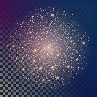 Le stelle ad effetto luce bagliore esplodono di scintille.