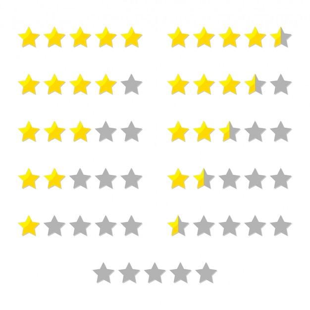 Le stelle di valutazione hanno impostato per la revisione del prodotto o del cliente con le icone piane di vettore dell'oro e delle mezze stelle.