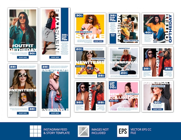 Le storie blu classiche minimaliste del instagram alimentano il modello di vendita di modo della posta