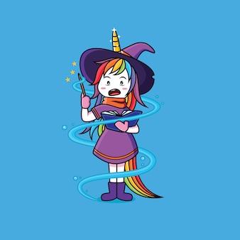 Le streghe unicorn stanno imparando le bacchette magiche