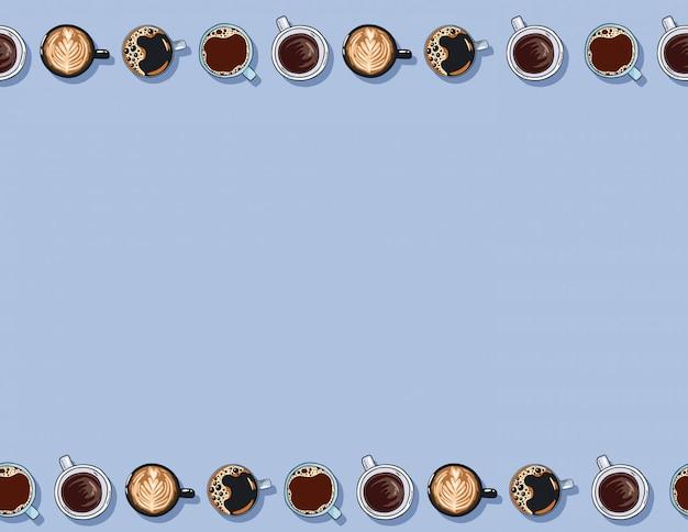 Le tazze di caffè disegnate a mano sveglie del fumetto bevono il modello senza cuciture