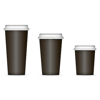 Le tazze di caffè nero hanno impostato isolato su priorità bassa.