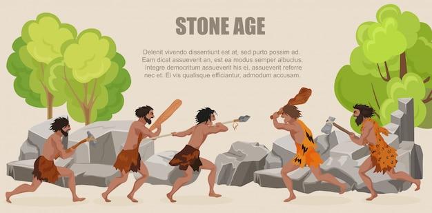 Le tribù degli uomini primitivi della guerra dell'età della pietra combattono