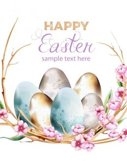 Le uova blu e gialle dell'acquerello con il fiore della molla fioriscono la corona