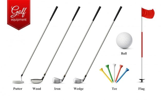 Le varie attrezzature di golf hanno messo con differenti tipi di club hanno isolato l'illustrazione isolata realistica di vettore della palla e della bandiera del t
