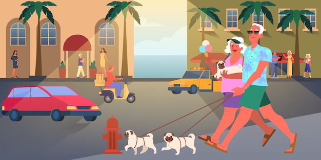 Le vecchie coppie viaggiano insieme. donna e uomo in pensione. nonno felice e nonna che cammina cane. illustrazione