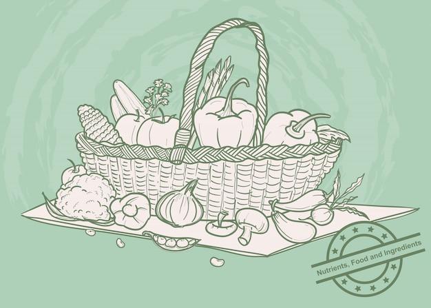 Le verdure hanno messo in un canestro