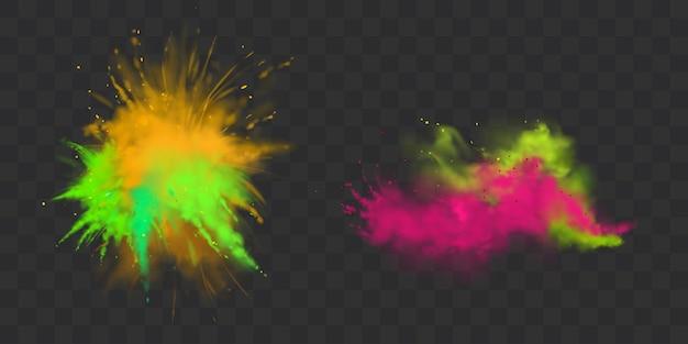 Le vernici in polvere holi sono isolate, tinte per il festival