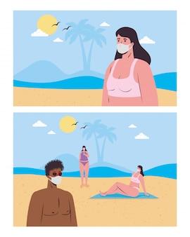 Le vignette del ragazzo e delle ragazze con le mascherine mediche alla spiaggia vector il disegno