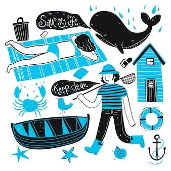 Le vite quotidiane di pescatori e turisti sulla spiaggia. raccolta di disegnati a mano, illustrazione vettoriale in stile doodle schizzo.